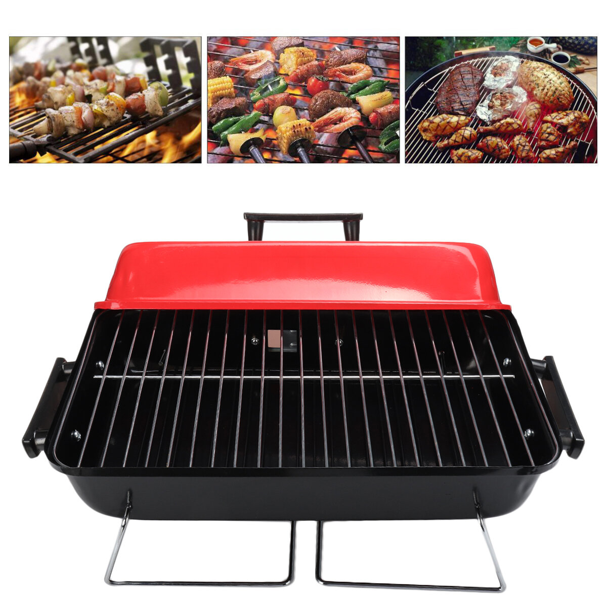 Image of Portable Folding BBQ Grill Barbecue Charcoal Grills Wire Meshes Tools For Outdoor Camping Cooking Picnics Hiking