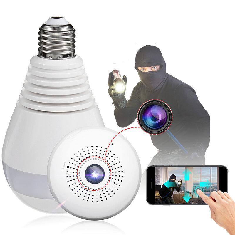 E27 360° Panorámico 1080P IR Cámara Oculta Bombilla de la Luz  Ojo de Pez de Wifi CCTV Cámara de Seguridad
