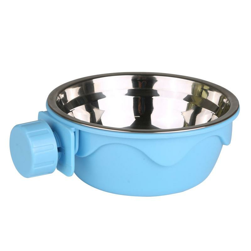 Dog Cat Hanging Bowl Stationary Drinking Bowl Stainless Steel Water Food Feeder Feeding Dog Puppy Cat Pet Bowl