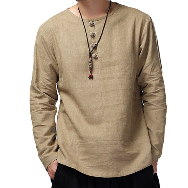 Charmkpr Mens Loose Long Sleeve Cotton Linen Tops Breathable Antibacterial Vintage T-Shirts