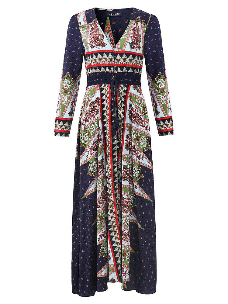 OEUVRE Đầm dạ hội nữ họa tiết cổ chữ V