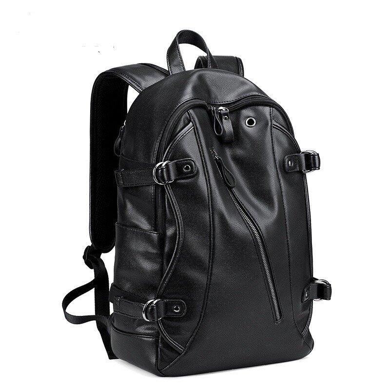 МК Мужчины Искусственная Кожа Мода Рюкзак Отдыха USB Зарядка Путешествия Сумка