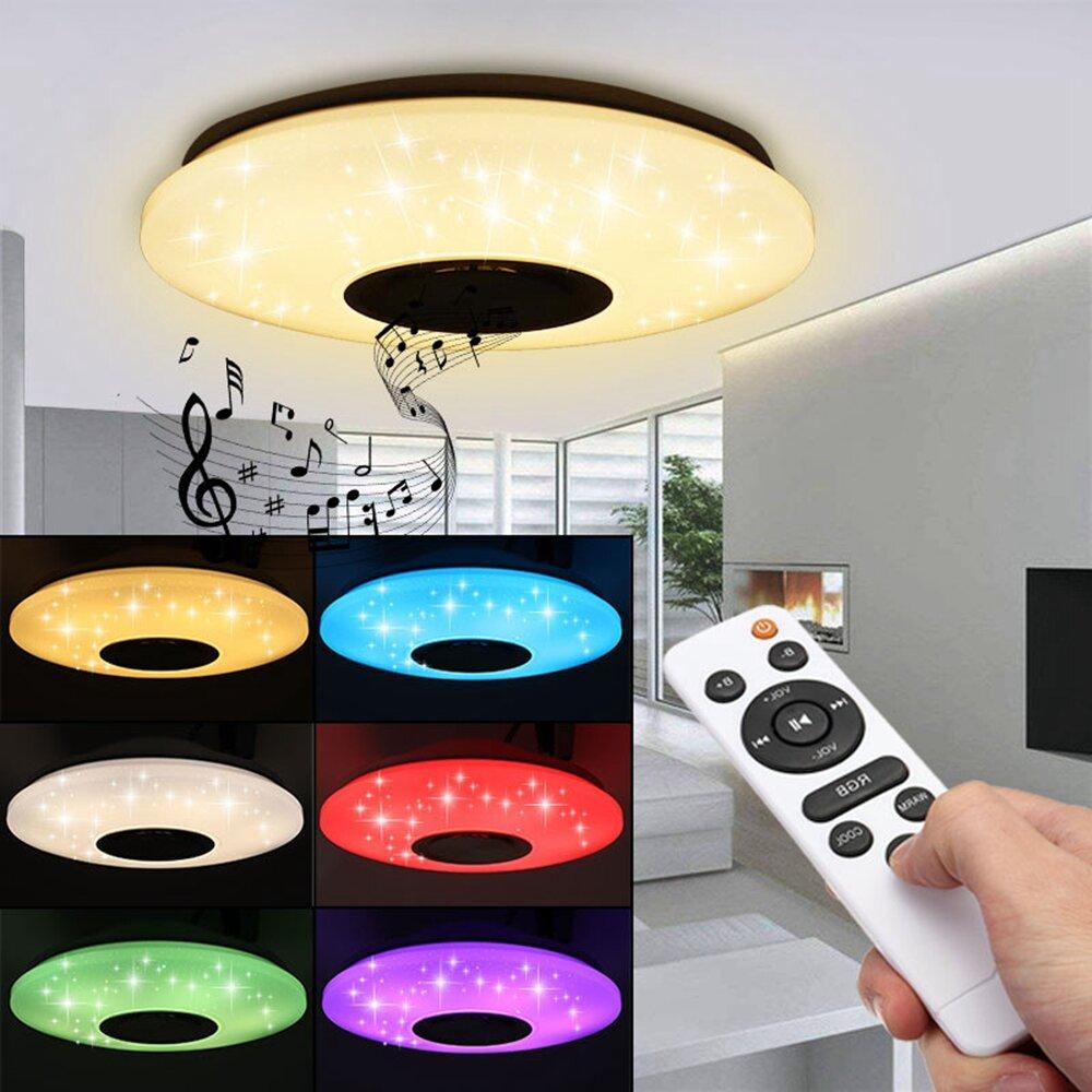 Đèn led âm trần 60W RGB hiện đại Đèn âm nhạc bluetooth Loa điều khiển ứng dụng từ xa