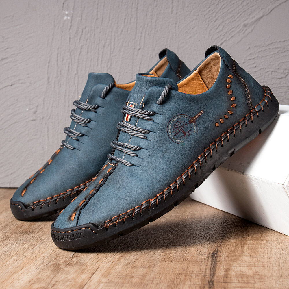 Banggood coupon: Men Hand Stitching Microfiber Soft Sole Casual Leather Shoes