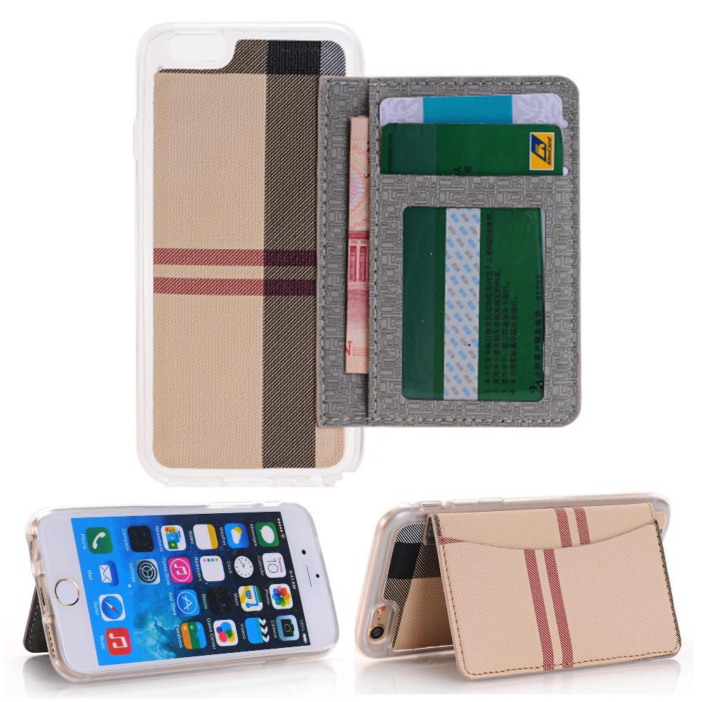 Stripe Skin TPU Beskyttelsesveske Med Card Slots Flip Stand Cover Deksel For 4.7 Tommer iPhone 6 6s