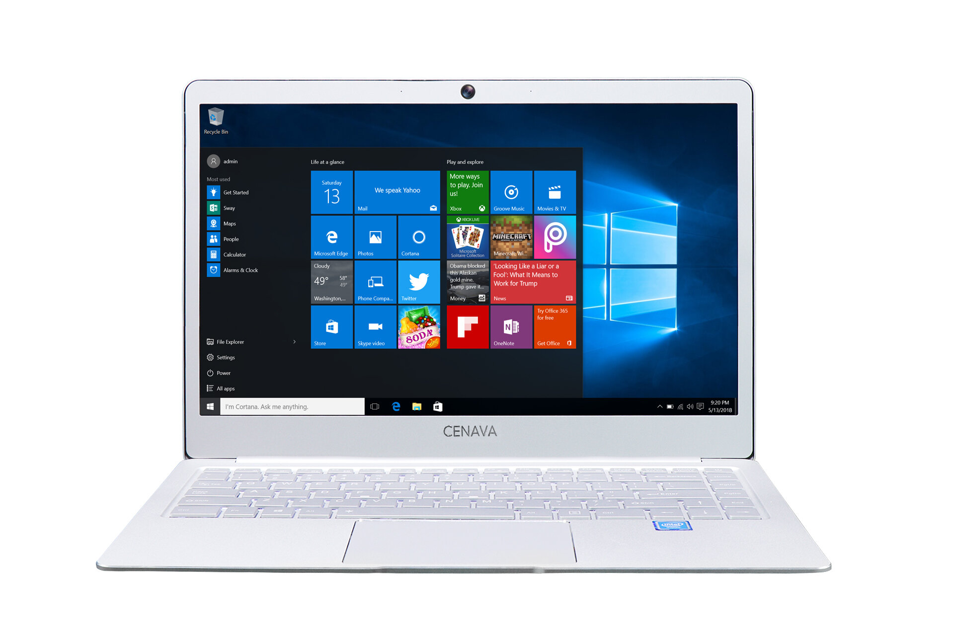 Cenava P14 14 Inch Laptop Intel Celeron J3455 Quad Core 8GB RAM 256GB SSD Win10 Bluetooth 4.0 Notebook  Silver White