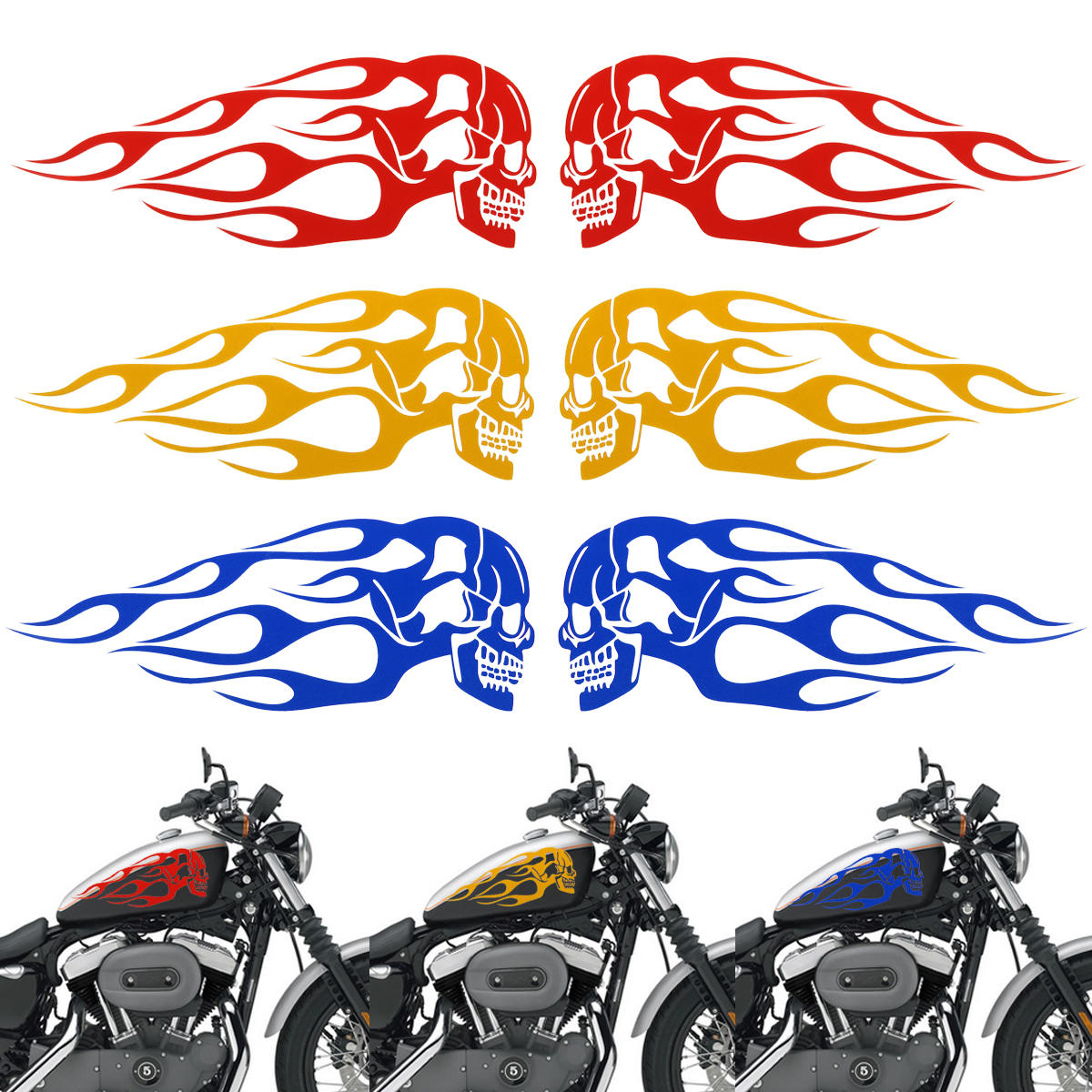 2pcs 13 5x5inch Universal Motorcycle Gas Tank Flames Skull Badge Decal Sticker Red Blue Yellow