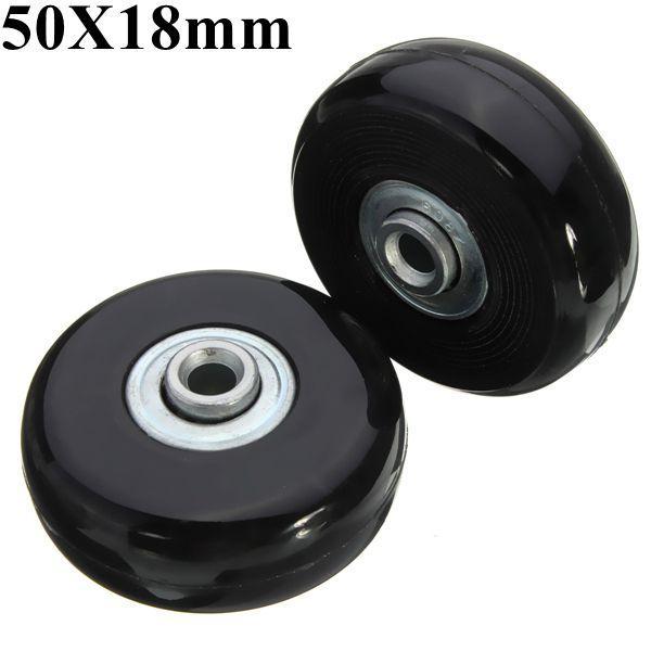 2pcs 50mm Black Luggage Suitcase Replacement Rubber Wheel Roller Suitcase Repair Parts