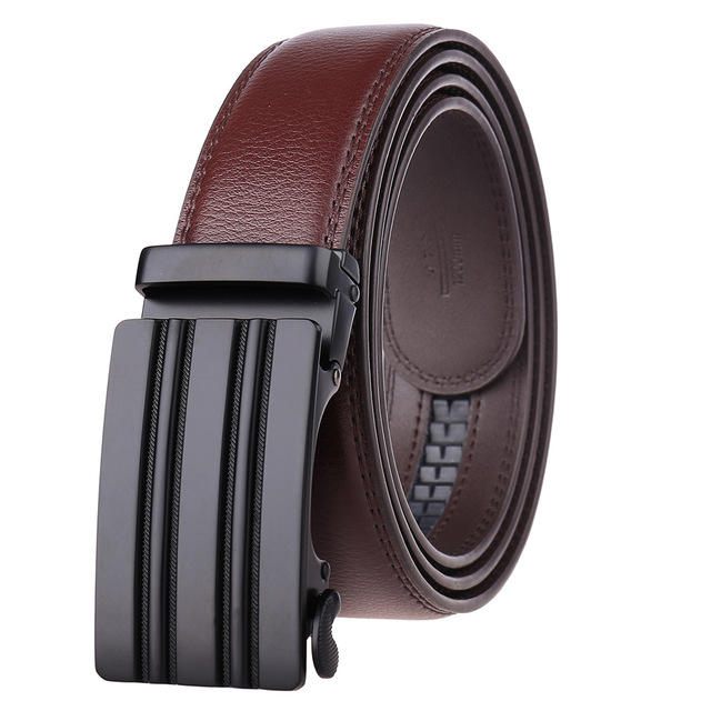 Men's Leather Automatic Buckle Belt Matte Black Alloy Buckle Two Layers Of Leather Belt