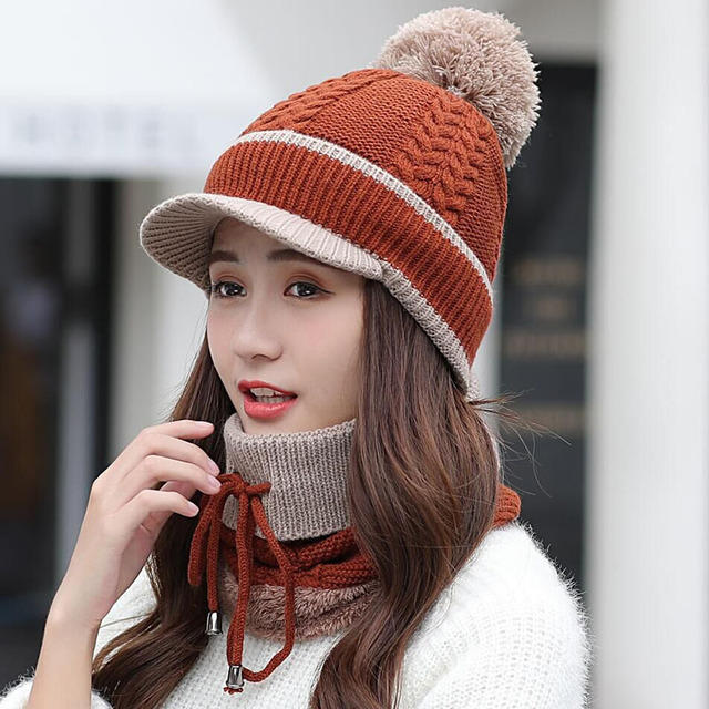 Wool Cap And Scarf Set Beanie Warm Winter Pom Wooly Cap