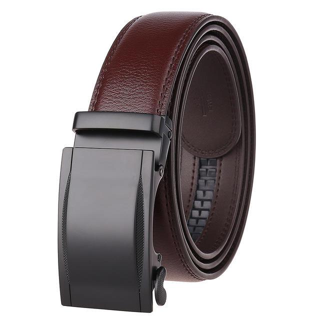 Business Simple Men's Belt Men's Leather Automatic Buckle Belt Alloy Buckle Leather Belt