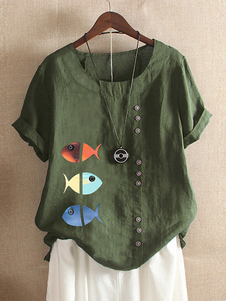 Fish Print Short Sleeve Button Plus Size Summer T-shirts
