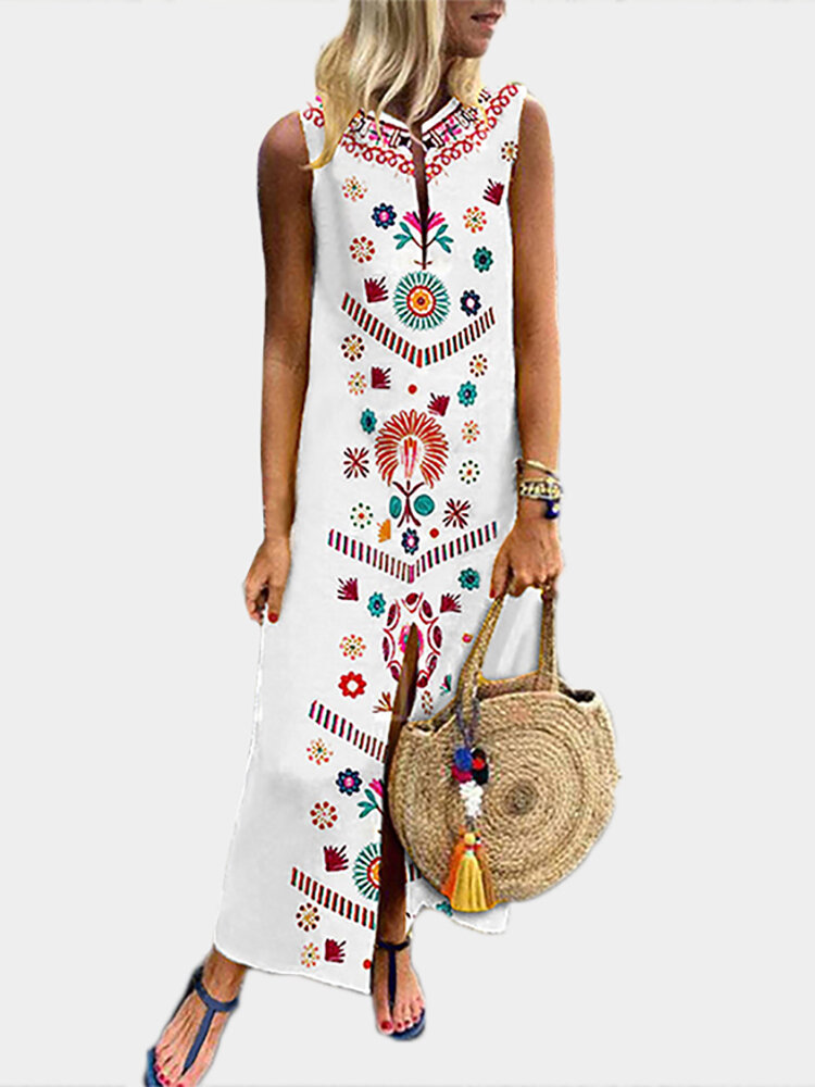 Women Printed V Neck Summer Floral Bohemian Dress