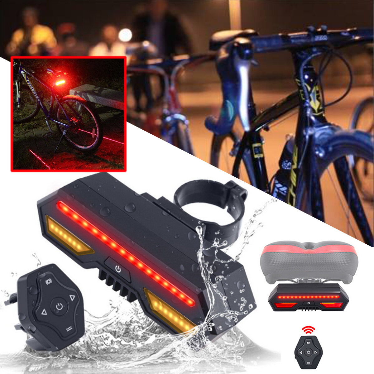Bicycle Bike Rear Tail Light Laser LED Indicator Turn Signal Remote Control