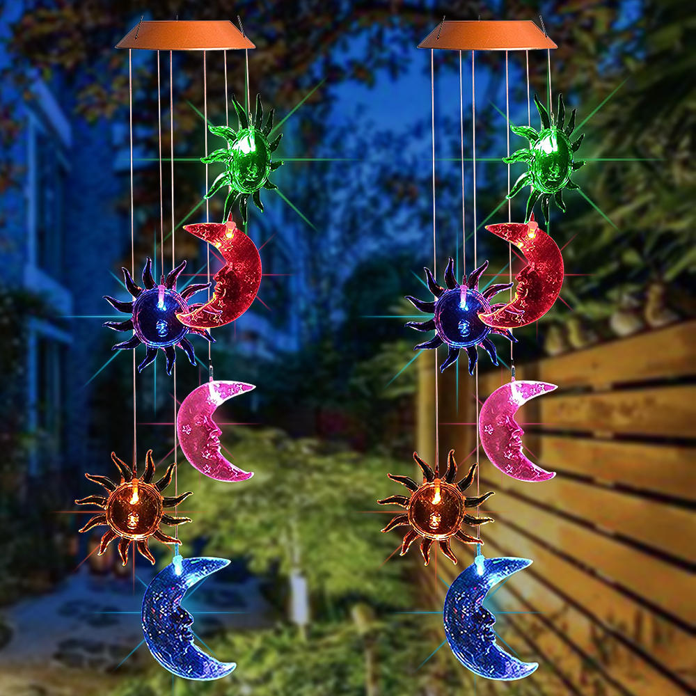 Hanging Wind Chimes Solar Powered LED Light Color Waterproof Garden Home Decor