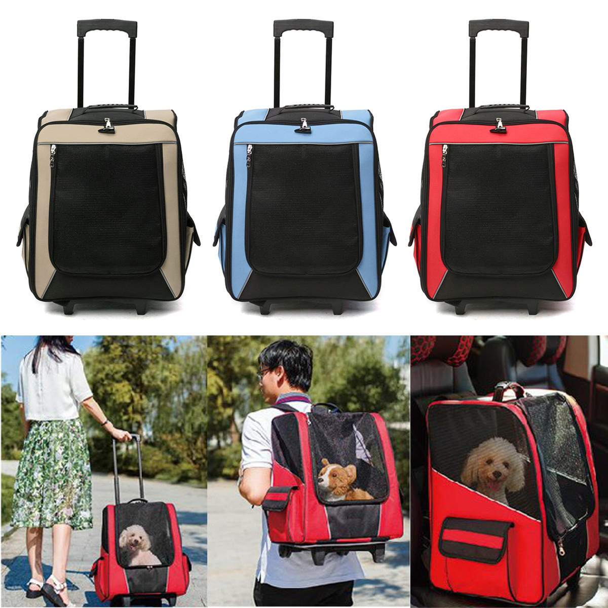 Cat Dog Rolling Back Pack Pet Carrier Travel Airline Wheel Luggage Bag Pouch