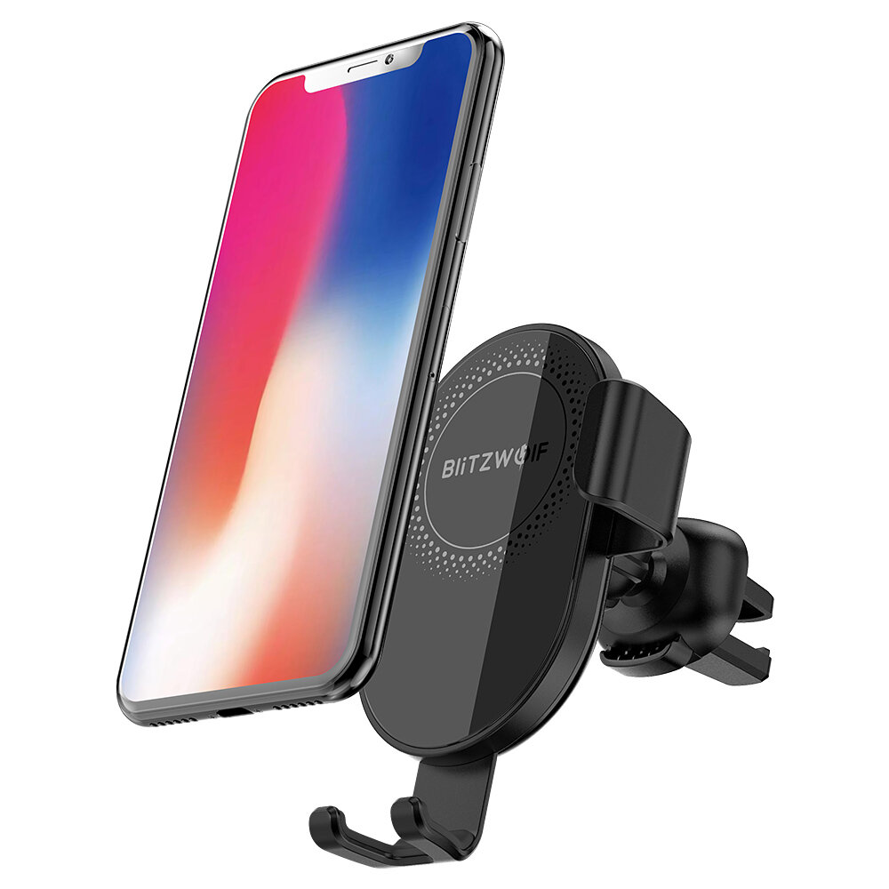 BlitzWolf® BW-CW1 10W 7.5W 5W 360°Rotation Qi Wireless Charger Car Phone Holder for iPhone 11 Pro XR X for Samsung S9 S10 for Xiaomi Huawei