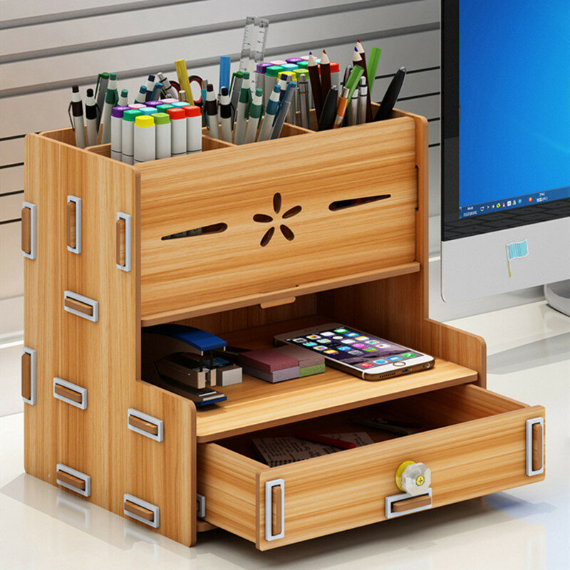 3 Colors Creative Pencil Pen Holder Storage Box Rack Desk Stationery Container Multifunctional Home/Office Desktop DIY Organizer