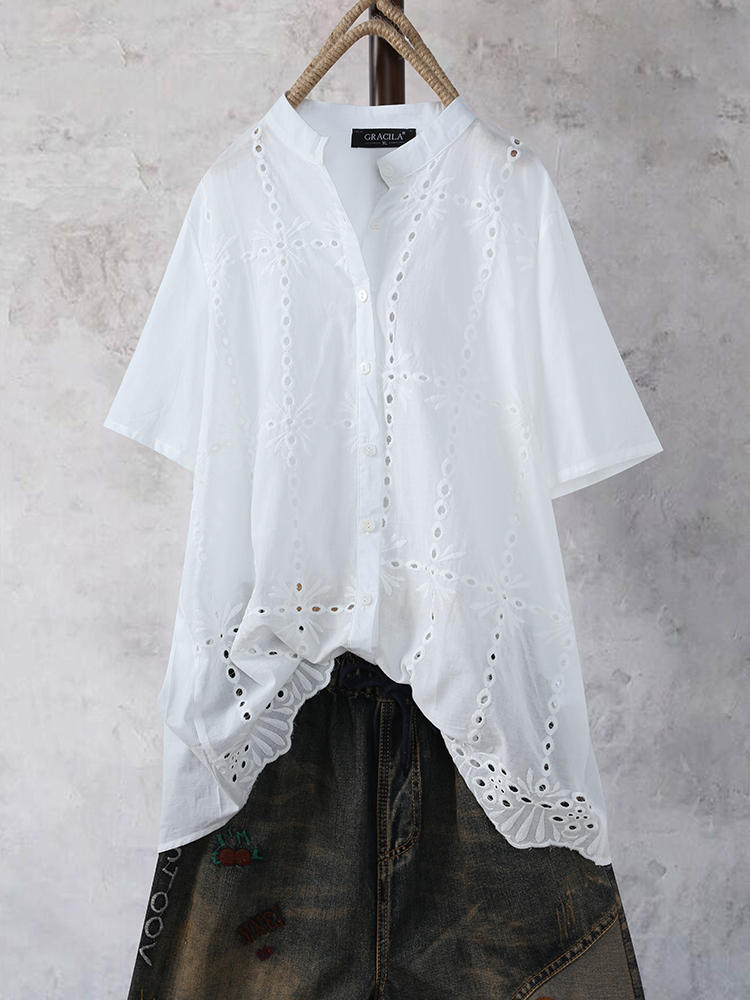 Vintage Lace Embroideried Band Collar Short Sleeve Blouse