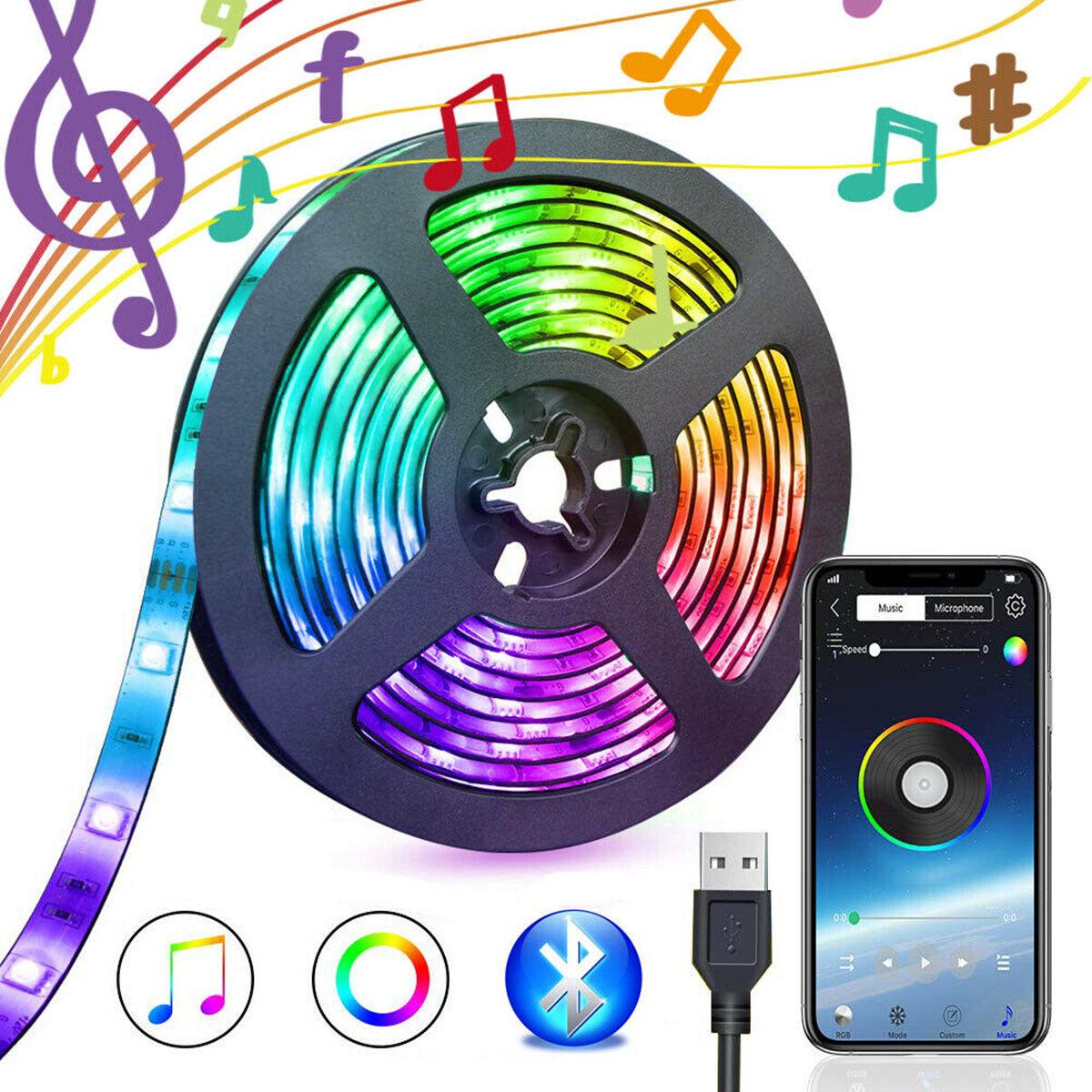 5V USB Power bluetooth Music Remote APP LED Dải ánh sáng 5050 RGB TV Đèn nền trang trí