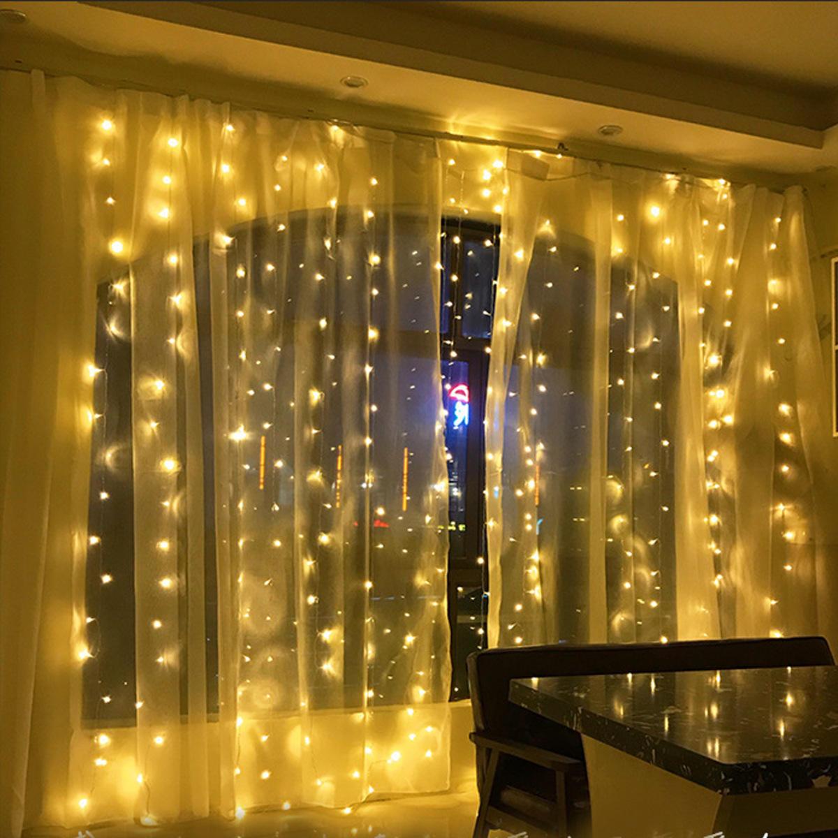 6Mx3M AC220V EU Plug LED Curtain String Light Organza Backdrop for Weddings Birthday Party Events Display