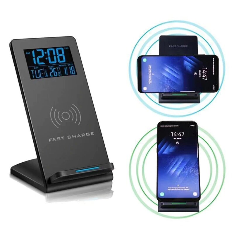 Loskii DC_01S Electric LED 12_24H Alarm Clock With Phone Wireless Charger Table Digital Thermometer Display Desktop Clock