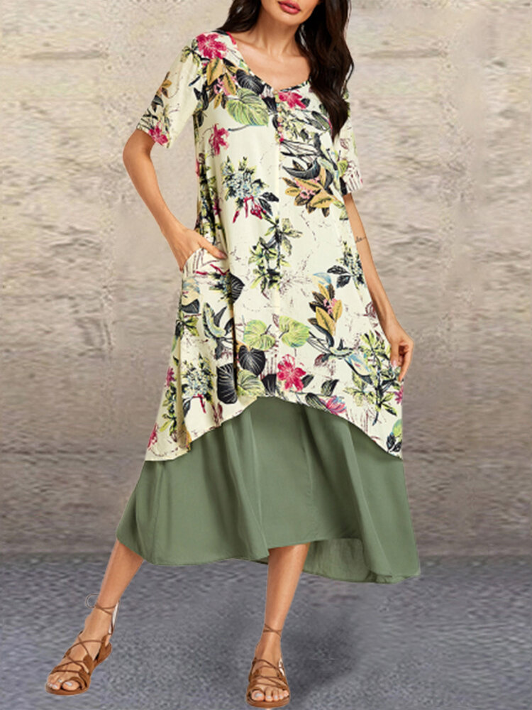 Print Patchwork V-neck Summer Plus Size Maxi Dress with Pockets