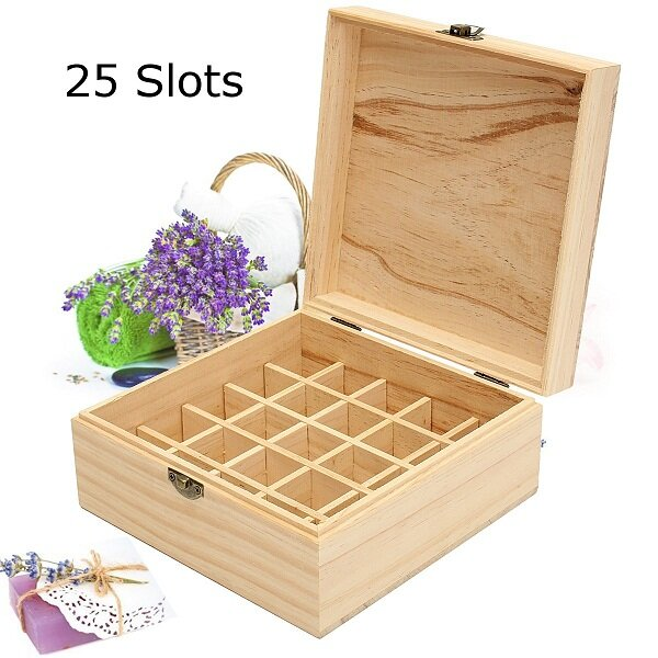 25 Slots Essential Oil Aromatherapy Wooden Storage Jewelry Box Case Container Organizer