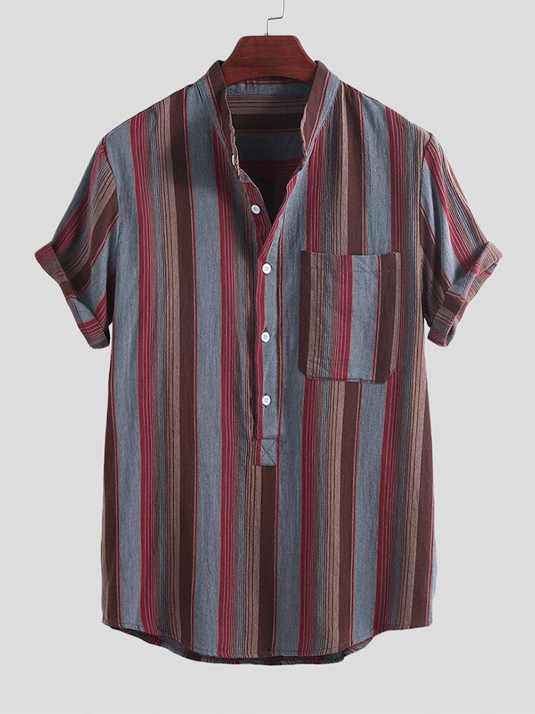 Áo sơ mi nam 100% cotton thực tế sọc ngắn tay áo sơ mi lỏng lẻo
