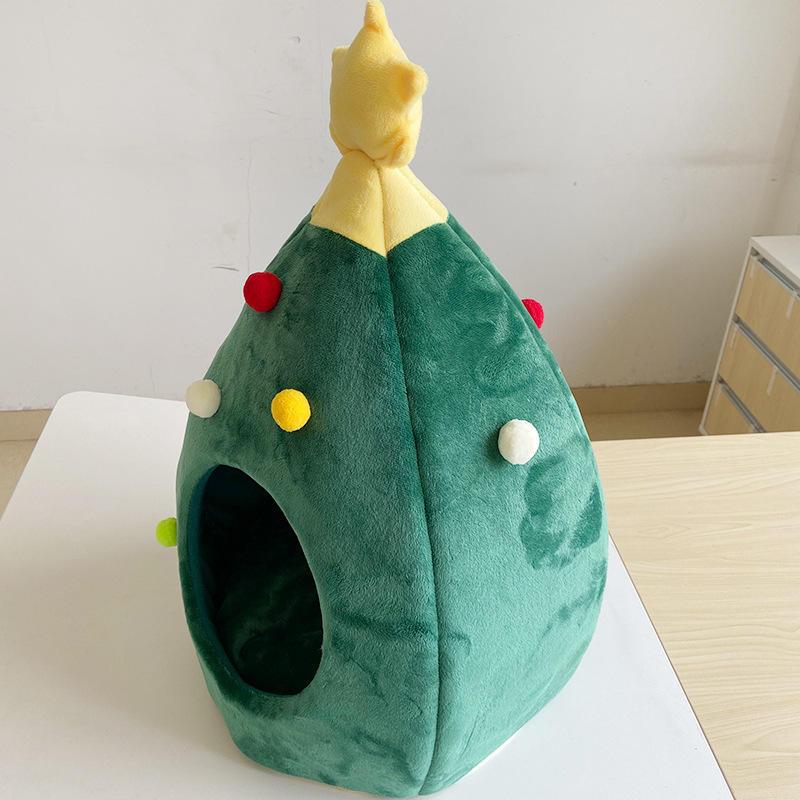 クリスマスツリー猫のトイレ犬小屋冬の暖かいペットの巣冬の猫の家ペット用品ペットベッド
