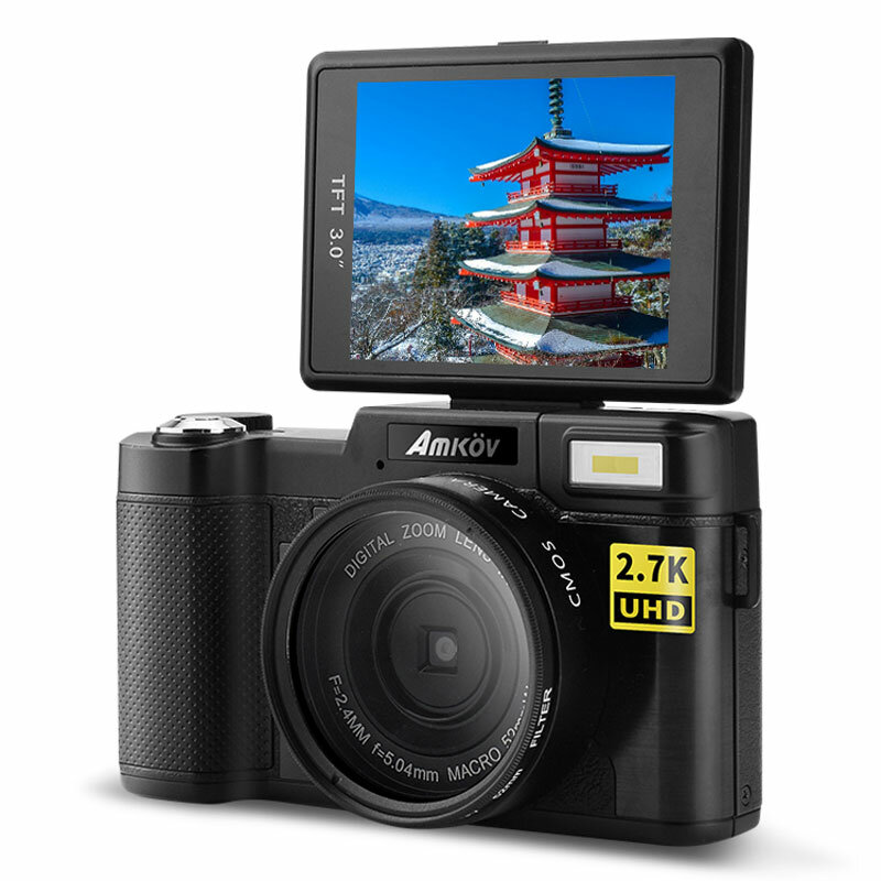 Amkov CD-RW WIFI 24MP 2.7K HD 4X Zoom Anti-Shake 3.0 Inch TFT Screen Digital Camera with 52mm Lens Adapter