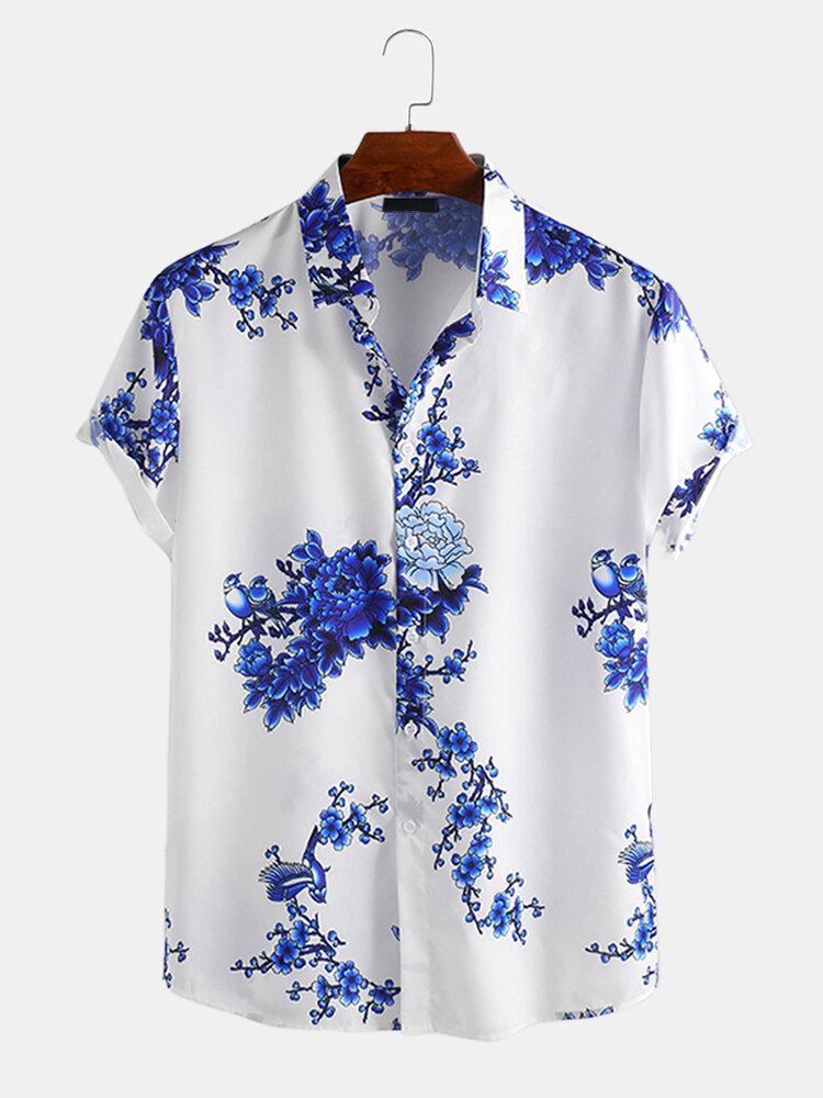 قمصان مريحة بأكمام قصيرة مطبوعة بنقشة الزهور من البورسلين