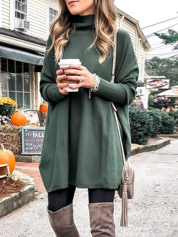Plus Size Women Solid Color Turtleneck Bat Sleeve Knitted Sweaters