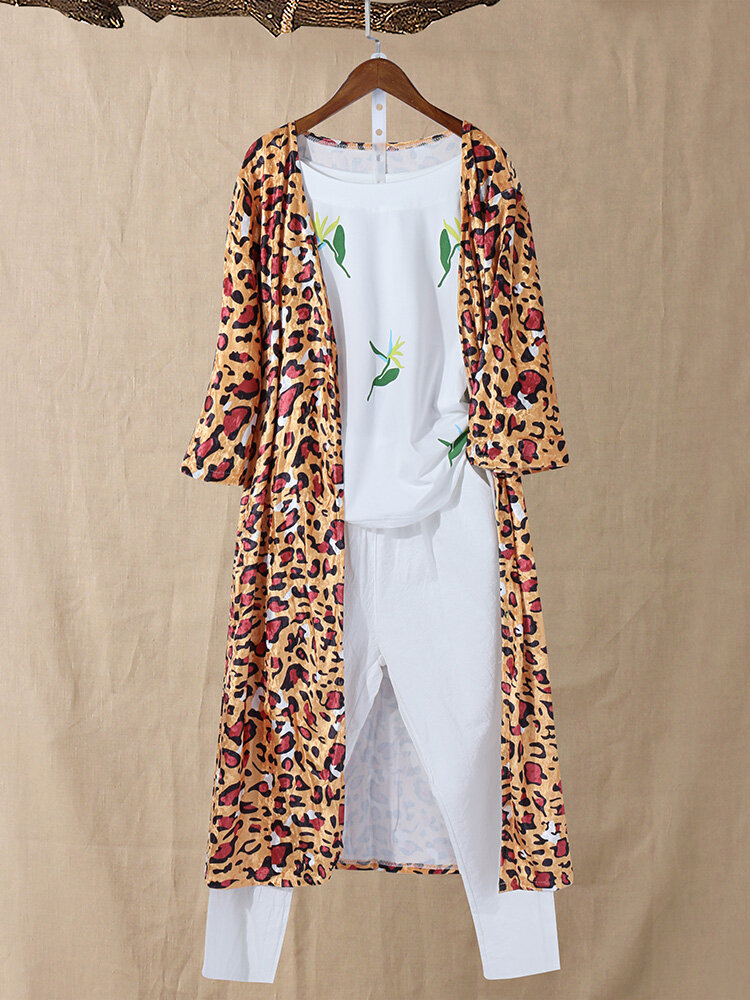 Casual Leopard 3/4 Sleeve Long Cardigans