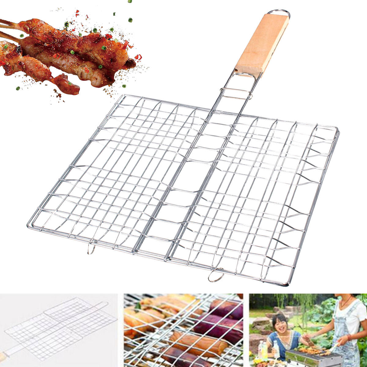 Portable Folding Stainless Steel BBQ Grill Basket Outdoor Camping BBQ Hamburg Vegetables Fishs Cooking Net