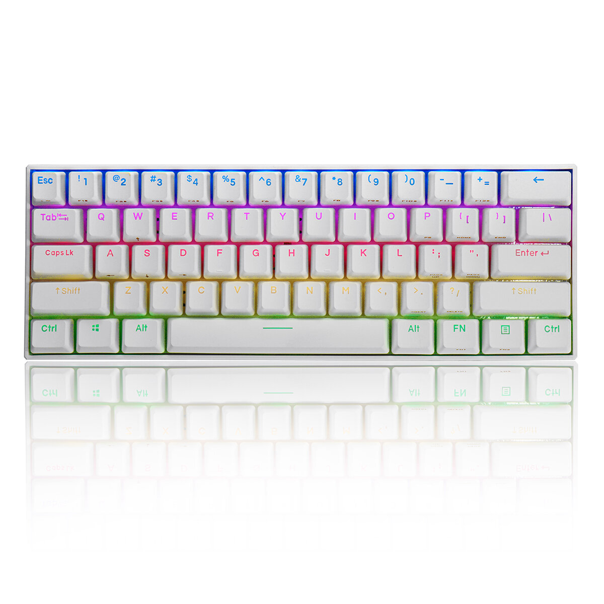 FEKER 60% NKRO bluetooth 4.0 Type-C Outemu Switch PBT Double Shot Keycap RGB Mechanical Gaming Keyboard--White - Brown Switch