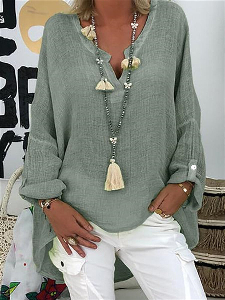 Chic Solid Color V Neck Long Sleeve Blouse