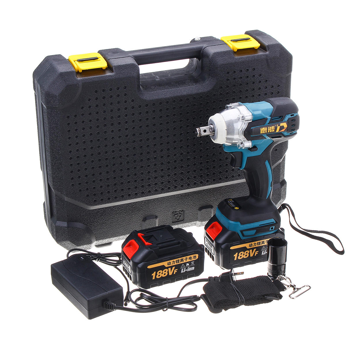 188VF 6000mAh 380N.m Lithium-Ion Battery Electric Cordless Impact Wrench Drill Driver Kit Power Tools