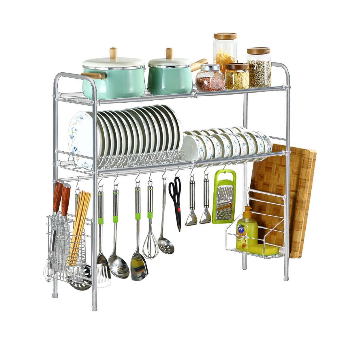 Large Capacity Sink Dish Drainer Drying Rack Kitchen Storage Stainless Steel USA