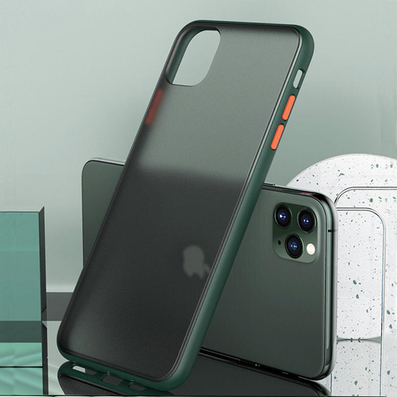 Bakeey Shockproof Anti-fingerprint Ultra-thin Frosted Soft Silicon Edge+Hard PC Translucent Protective Case for iPhone 11 Pro Max 6.5 inch