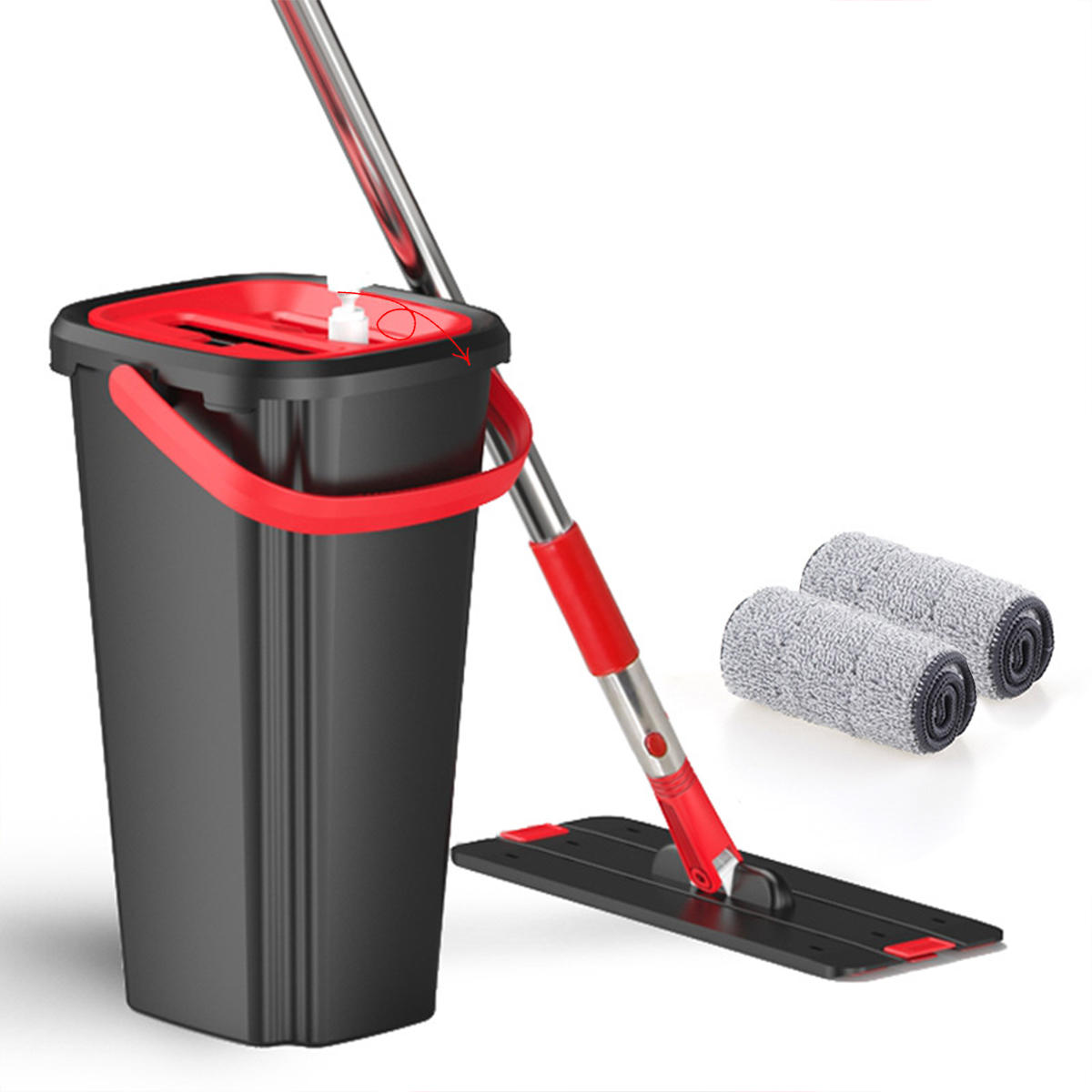 Mop Wash /& Dry Flat /& Bucket Cleaning System for all Floors