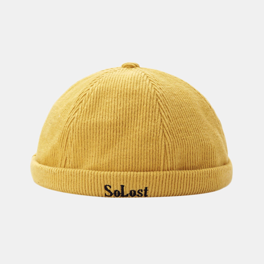 Unisex Personality Corduroy Yara Brimless Hats Solid Color Letter Embroidery Landlord Hat Melon Hat Hip Hop Hat