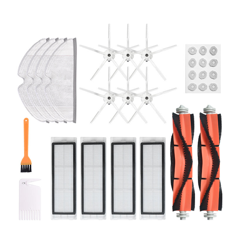 30pcs Replacements for XIAOMI Roborock S6 S5 E35 E2 Vacuum Cleaner Parts Accessories 6*5-arm Side brushes 12*Water Core 4*Filters 4*Rags 2*Roll Brush 1*Yellow Brush 1*White Comb