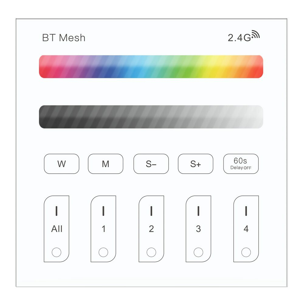 ZJ-TRBM-RGBW-A BT Mesh RGBW Touch Remote Panel Dimmer Controller Work With Amazon Alexa Google Home AC100-240V
