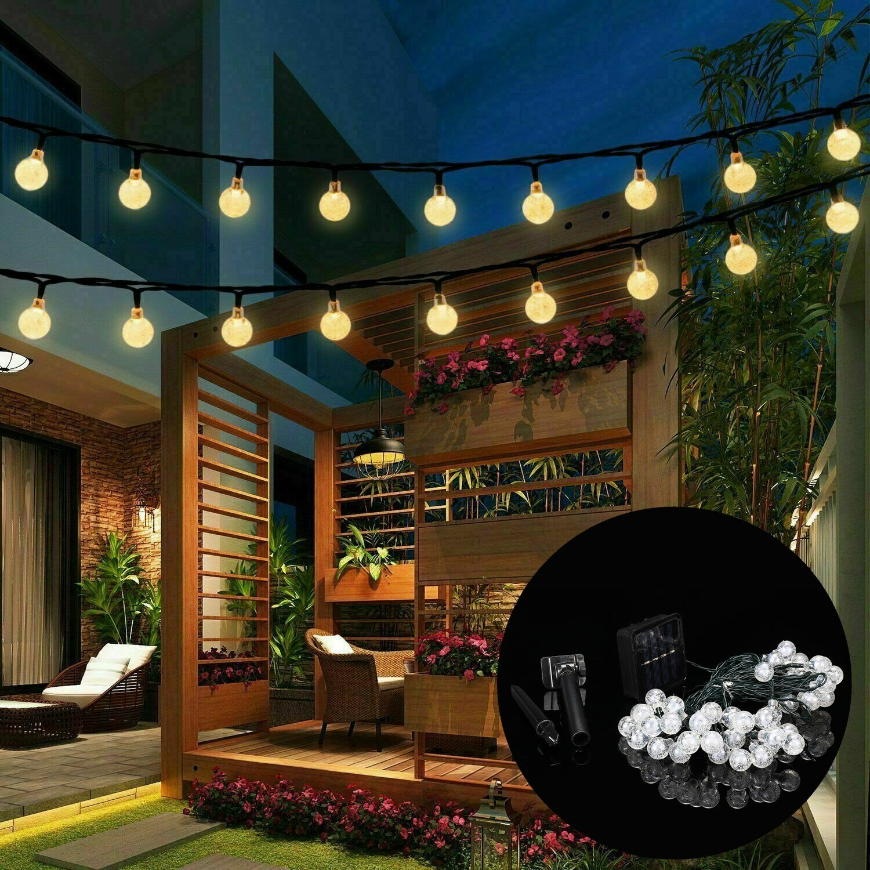 9.5M 50 LED Solar Fairy Bulb String Light 8 Modes Outdoor Indoor Garden Wedding Holiday Lamp Christmas Tree Decorations