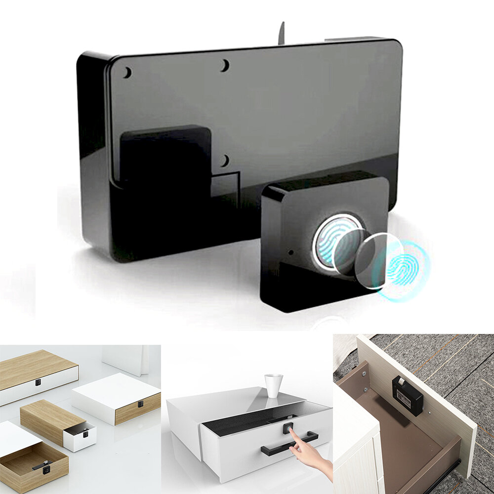Portable Automatic Intelligent Fingerprint Cabinet Lock USB Rechargeable Luggage Suitcase Lock Padlock 360 Degree Upgrade Chip Fast Recognition