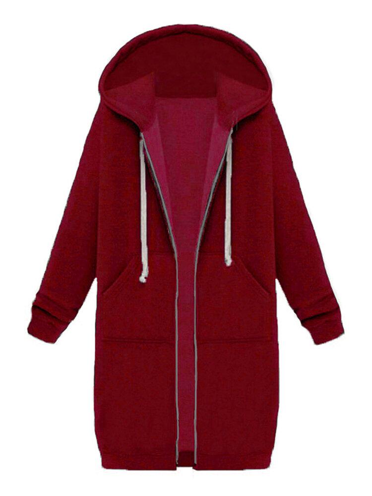 9 Colors Casual Women Long Sleeve Pockets Zip Up Hooded Sweatshirt
