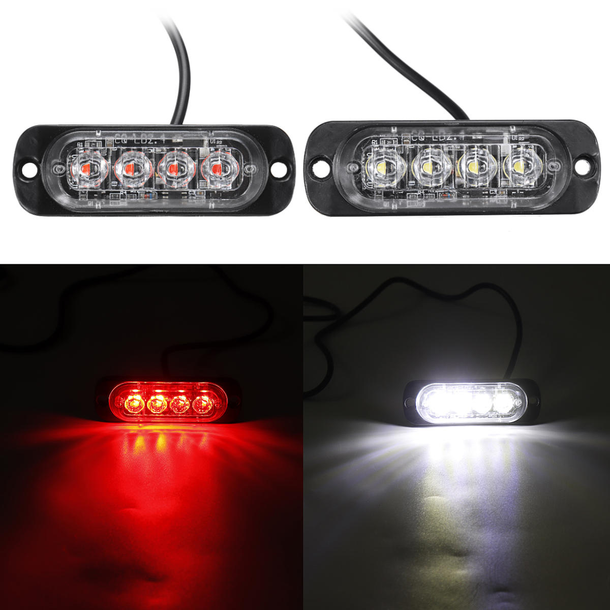LED Flash Strobe Warning Light Emergency Lamp Red/White 12/24V For Car Truck Motorcycle