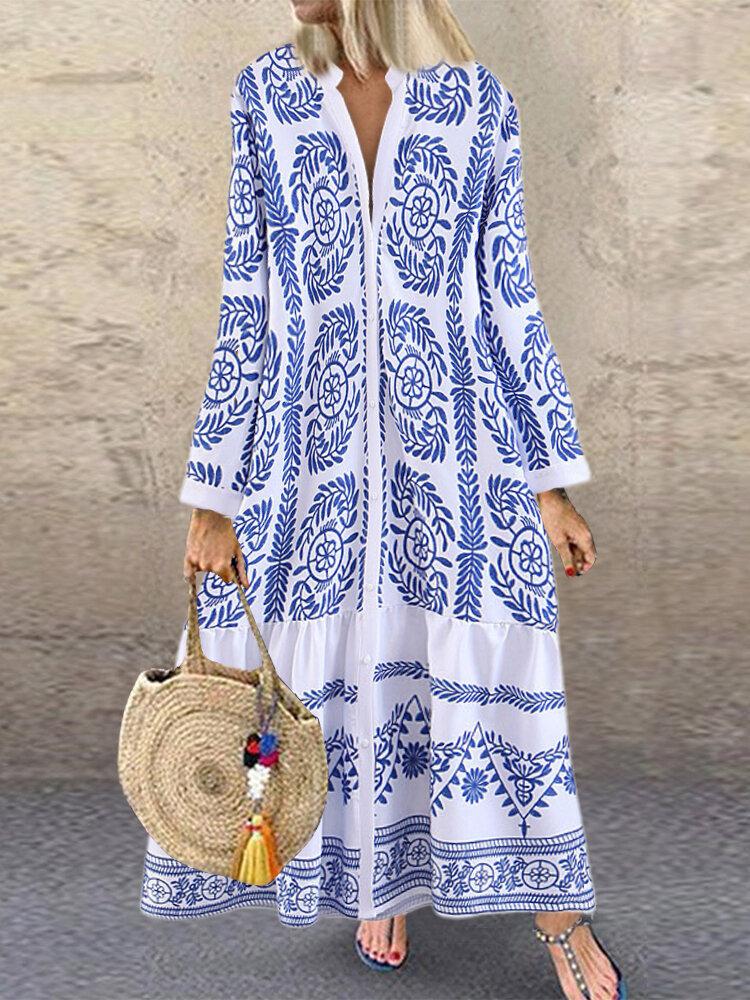 Bohemian Retro Print Long Sleeve V-neck Ruffle Button Dress