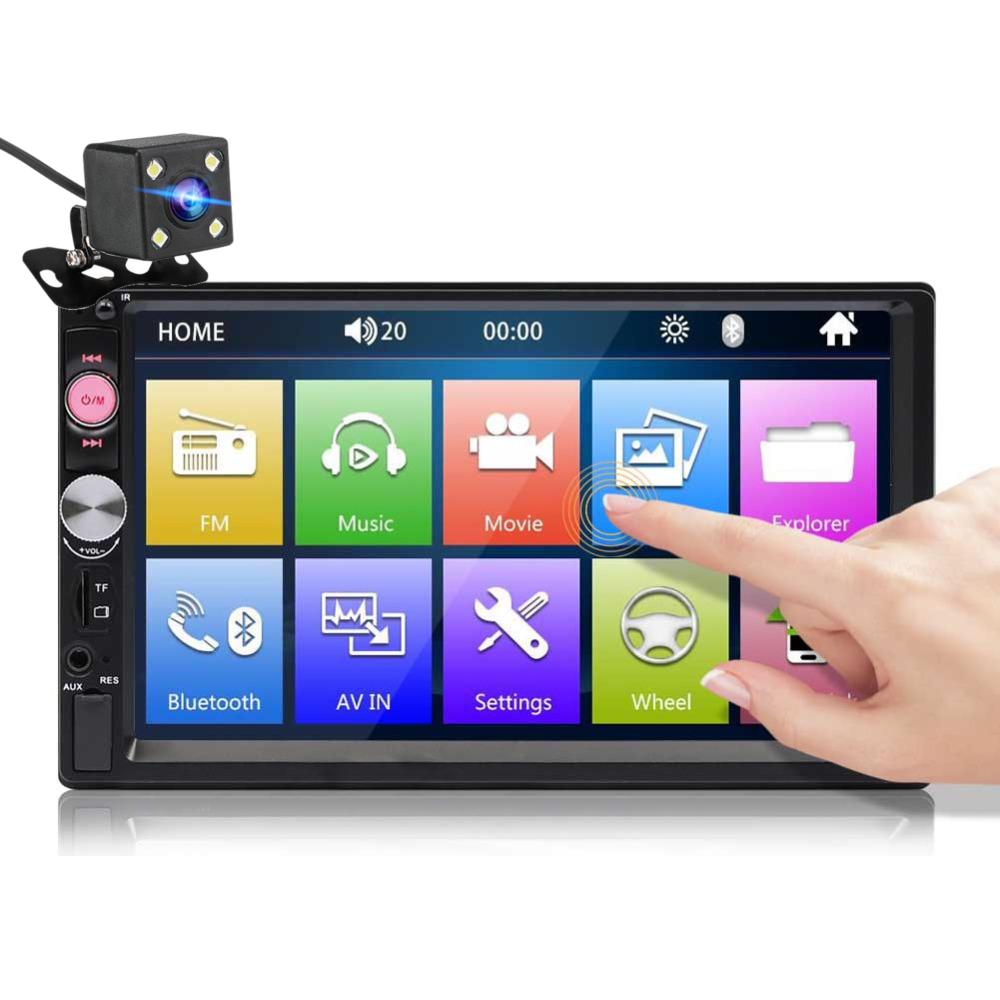7023B 7 Pollici Autoradio 2 DIN Radio HD Touch Screen Multimedia Lettore MP5 FM bluetooth TF USB con posteriore fotografica